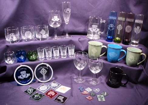 A selection of Etched Celtic Gifts Available