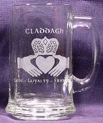 Solid Claddagh with text on 15oz Beer Mug